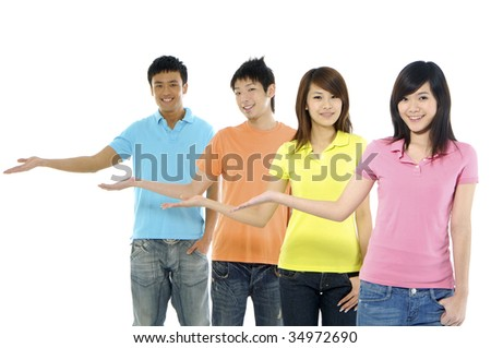 friends group show presentation - stock photo