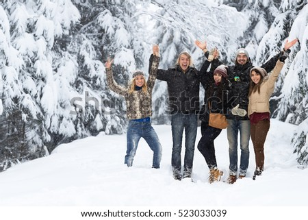 Friends Group Snow Forest Happy Smiling Young People Outdoor Winter Pine Woods