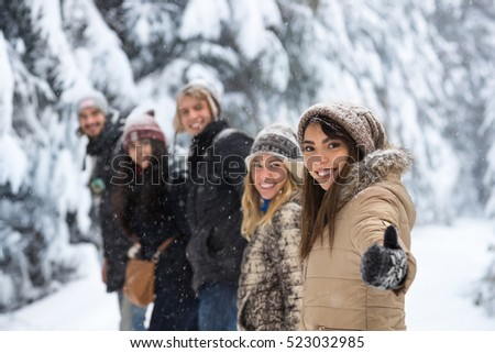 Friends Group Snow Forest Happy Smiling Young People Walking Outdoor Winter Pine Woods