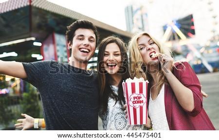 Friends Hangout Carnival Huddle Fun Smiling Concept - stock photo