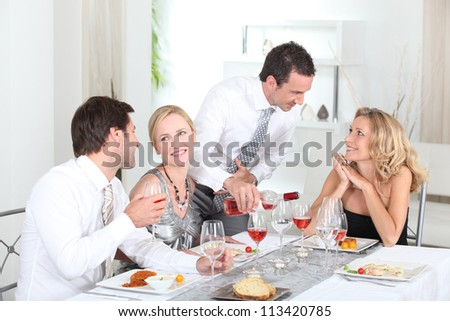 Friends having a party - stock photo