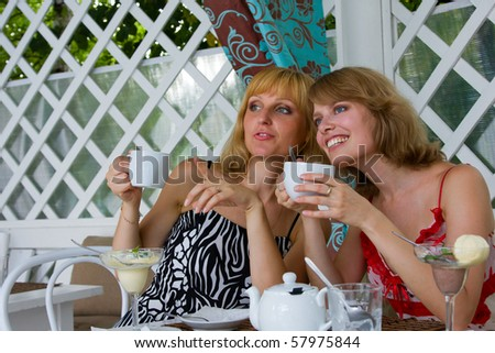 Friends having coffee in cafe.  Two women friends talking amongst themselves. Female friends talking and drinking in coffee shop. - stock photo