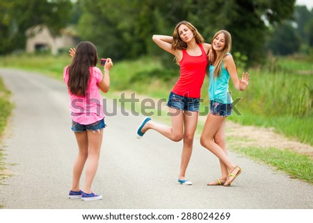 Friends having fun on a summer day - stock photo