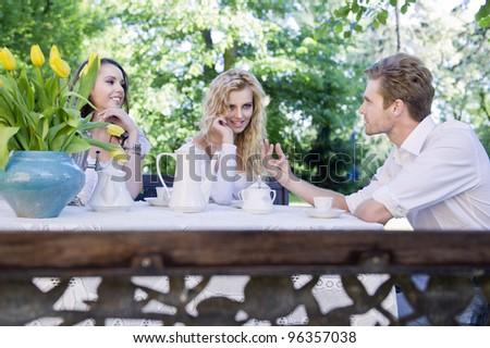 Friends having lunch break - stock photo