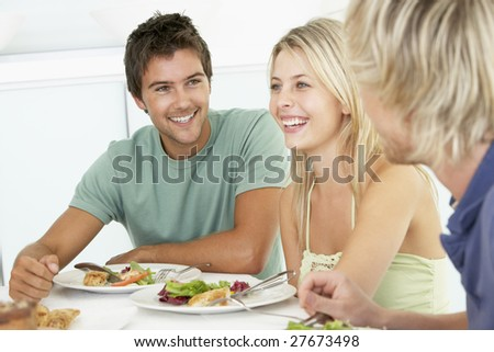 Friends Having Lunch Together At Home - stock photo