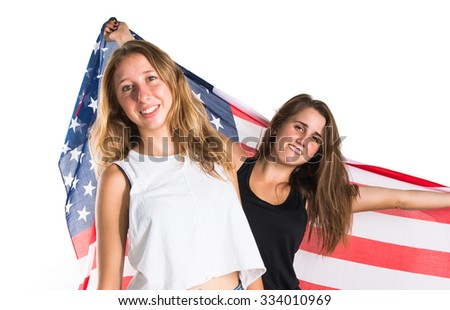 Friends holding an american flag