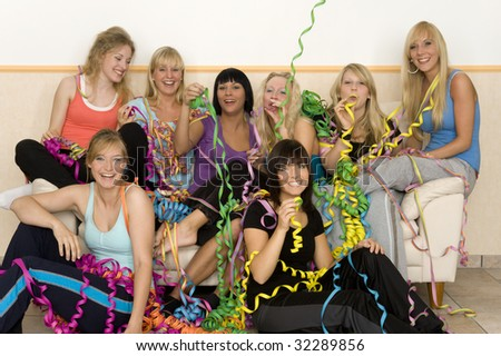 Friends make a party - stock photo