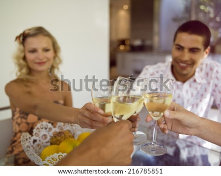 Friends making a toast with wine. - stock photo