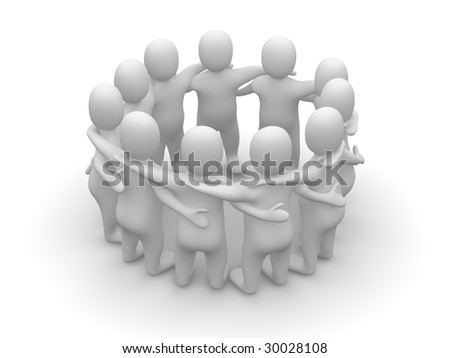 Friends meeting. 3d rendered illustration isolated on white. - stock photo