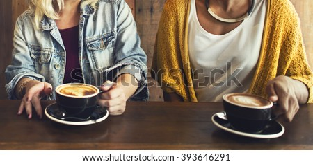 Friends Meeting Happiness Coffee Shop Concept - stock photo
