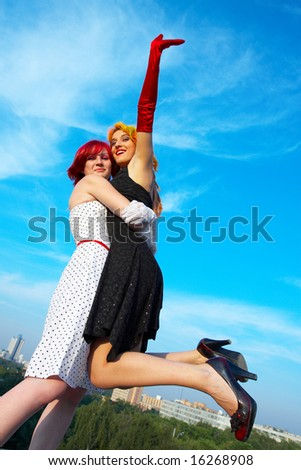 Friends meeting on blue sky. - stock photo