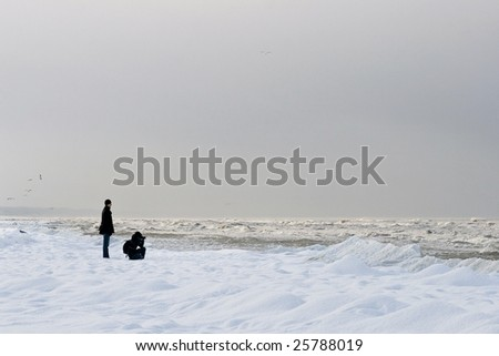 friends near the sea are taking pictures - stock photo