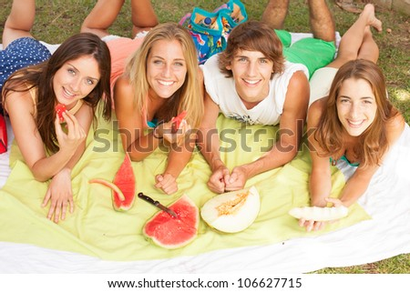 Friends on healthy fruit picnic at sunny day - stock photo