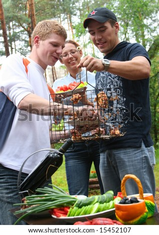 friends on picnic - stock photo