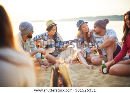 Friends on sand - stock photo