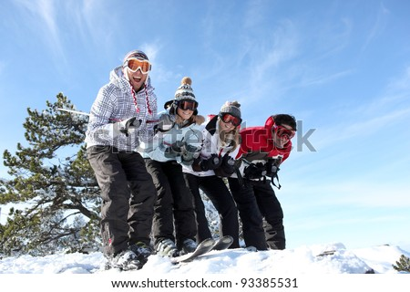 Friends on skis - stock photo