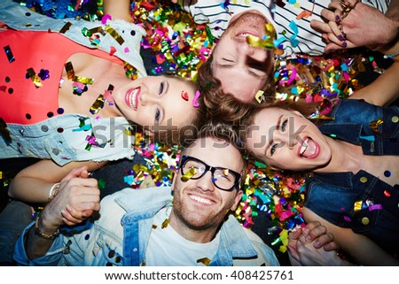 Friends on the floor - stock photo