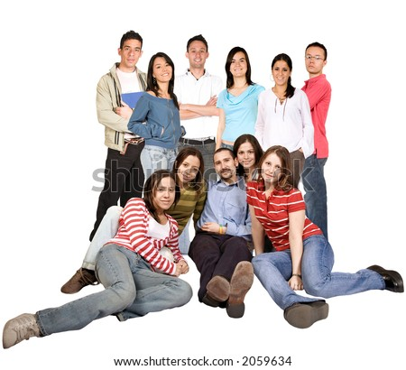 friends on the floor and standing over a white background - stock photo