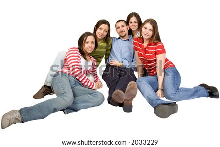friends on the floor over a white background