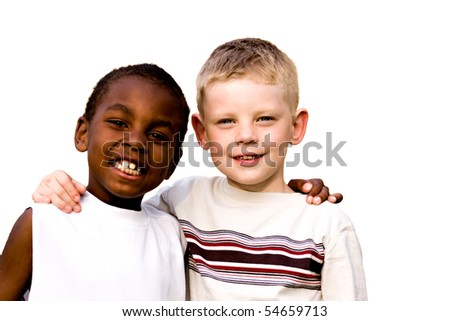 friends on white background - stock photo