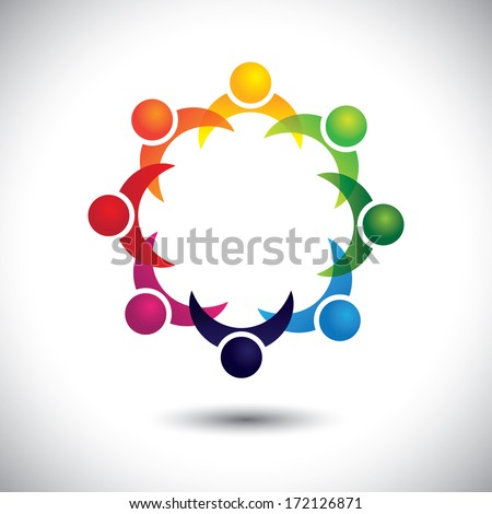 friends & other people partying together - entertainment concept. This abstract graphic also represents support group meeting, students learning, community unity, management strategy & planning - stock photo