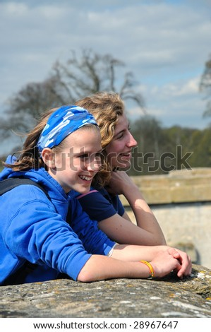 friends out at the park - stock photo