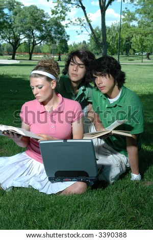 Friends outdoors in the park studying for final exams