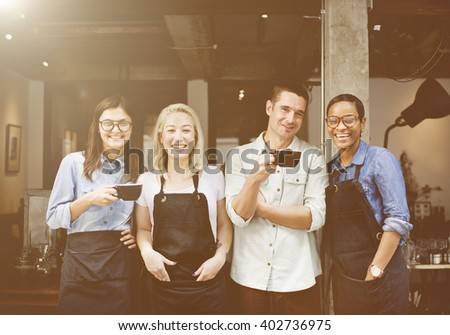 Friends Partnership Barista Coffee Shop Cafe Day Concept - stock photo