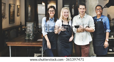 Friends Partnership Barista Coffee Shop Concept - stock photo