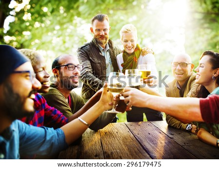 Friends Party Outdoors Celebration Happiness Concept - stock photo