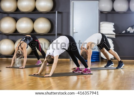 Friends Performing Downward Dog Pose In Gym - stock photo