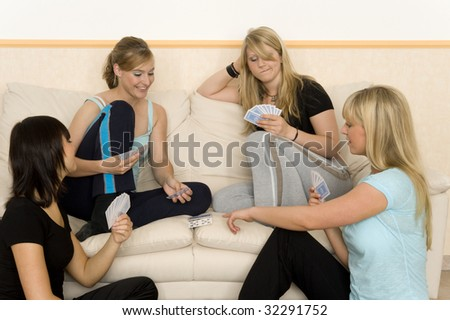 Friends play a game - stock photo