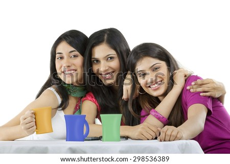 Friends posing together - stock photo
