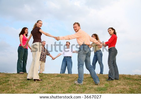 friends roundelay circle, russian khorovod - stock photo