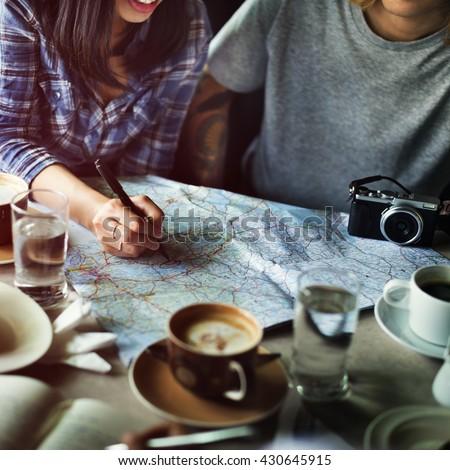 Friends Searching Location Relax Vacation Weekend Concept - stock photo