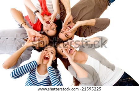 Friends shouting on the floor with their heads together isolated over a white background - stock photo