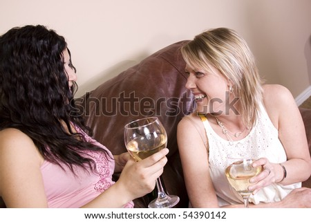 Friends Socializing at Home - stock photo