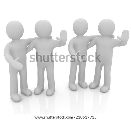 Friends standing next to an embrace and raised one's hand for greeting. 3d image. Isolated white background.