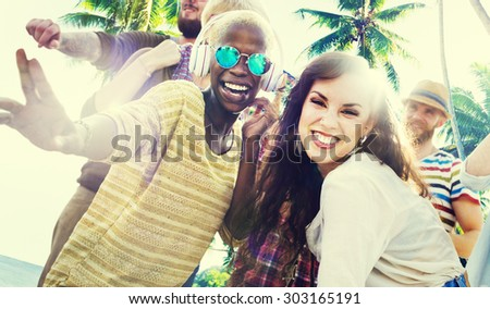 Friends Summer Beach Party Dancing Concept - stock photo