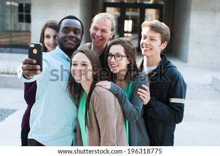 Friends Taking a Selfie - stock photo