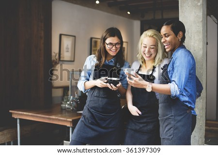 Friends Talking Coffee Shop Worker Concept - stock photo