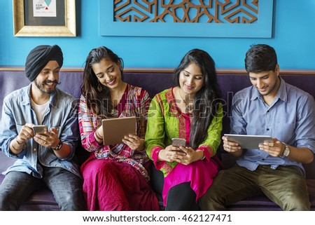 Friends Technology Devices Happy Concept
