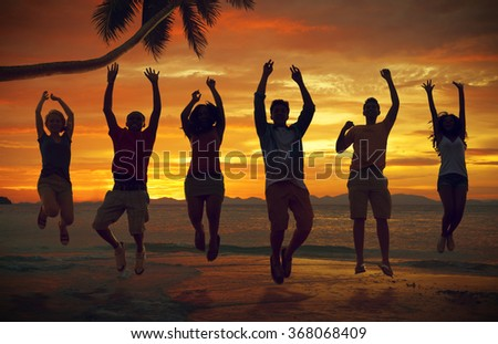 Friends Vacation Sea Summer Jumping Shot Concept