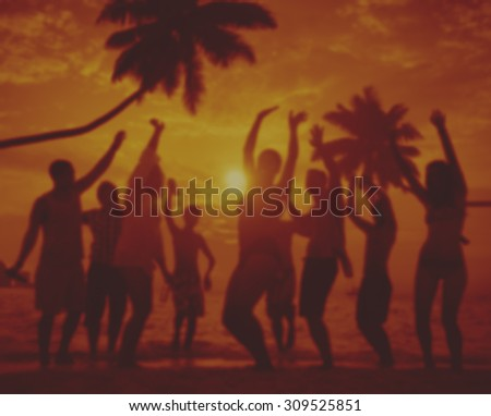Friends Vacations Beach Party Dancing Concept - stock photo