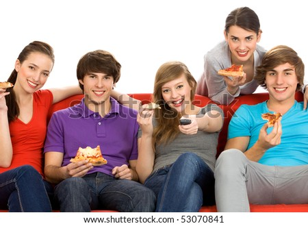 Friends watching TV - stock photo