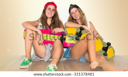 Friends with their skateboards