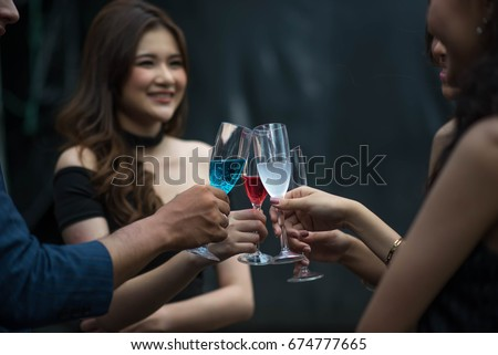 friends  women party drinking celebration new year. portrait beautiful women enjoy drink in the club party .Asian  beautiful women  with glasses in the club happiness lifestyle.