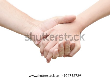 Friendship and love concept between man and woman - man's hand hold by a girl hand isolated on the white background