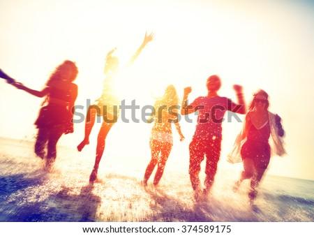 Friendship Beach Summer Splash Holiday Concept - stock photo