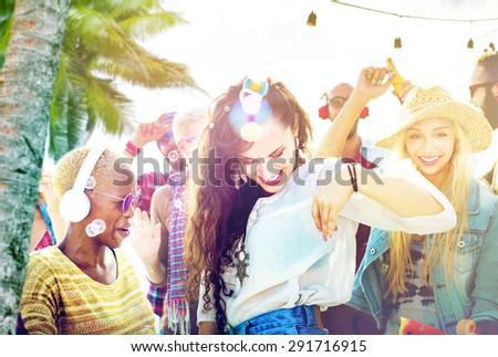 Friendship Dancing Bonding Beach Happiness Joyful Concept - stock photo